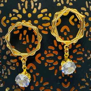 Rose Gold Plated Fancy Earrings With American Diamond Stone and Pearl Drop For Girls