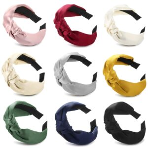 Solid Fabric Knot Plastic Hairband Headband for Girls and Women Pack of 1 (Multi Colour )