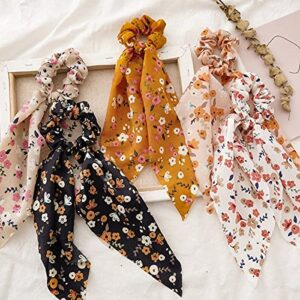 Elastic Hair Bands Ties Ribbon Scarf Ponytail Holder for Women, Pack of 1 (Multicolor)